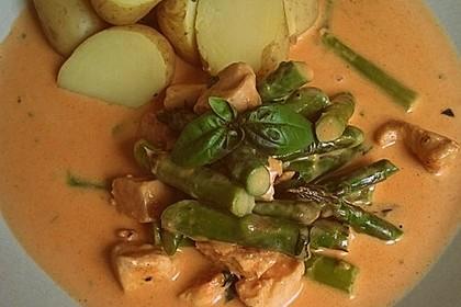 Spargel in rosa Basilikum - Käse - Sauce mit Filet vom Schwein, Huhn oder Pute 23
