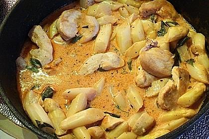 Spargel in rosa Basilikum - Käse - Sauce mit Filet vom Schwein, Huhn oder Pute 32