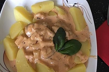 Spargel in rosa Basilikum - Käse - Sauce mit Filet vom Schwein, Huhn oder Pute 37