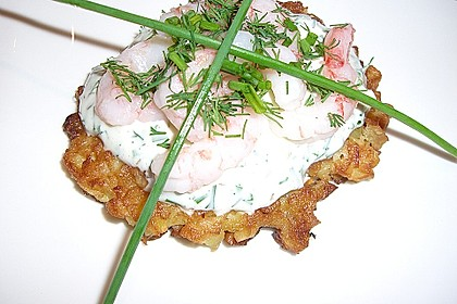 Kartoffelpuffer mit Krabben