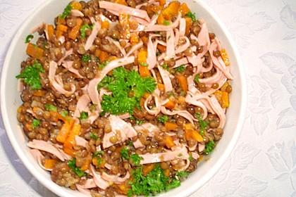 Linsen - Wurstsalat mit Honig - Senfsoße 2