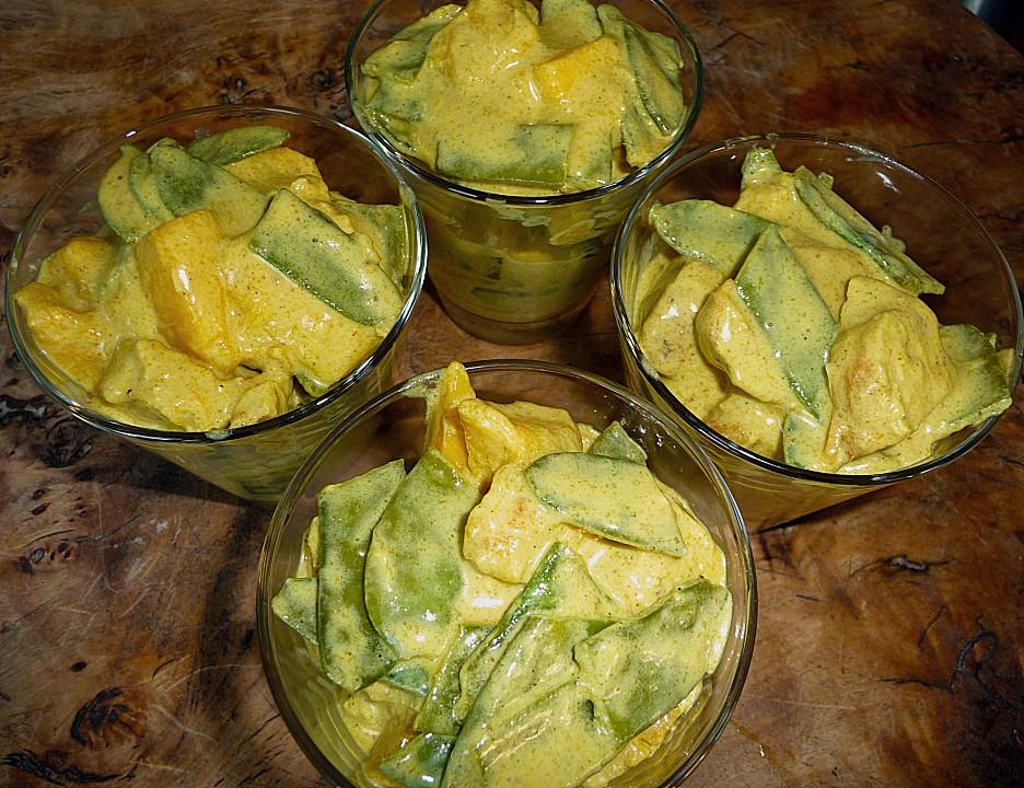 h hnchen curry salat mit mango und zuckerschoten rezept mit bild. Black Bedroom Furniture Sets. Home Design Ideas