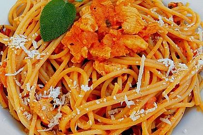 Spaghetti mit Putenfleisch