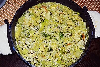 Reispfanne mit grünem Thai Curry und Estragon 1