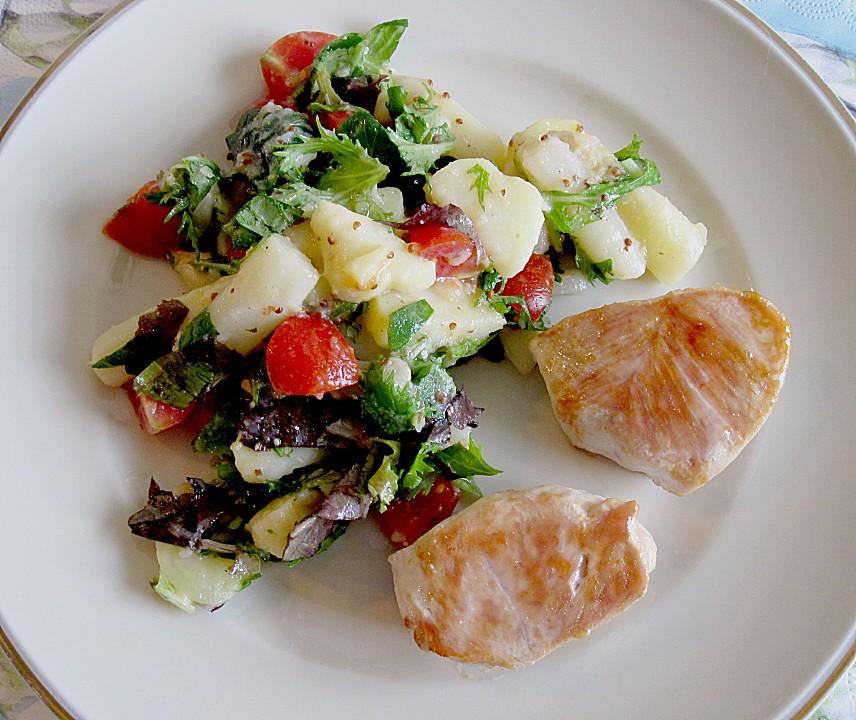 spargel kartoffel salat mit rucola und tomaten rezept mit bild. Black Bedroom Furniture Sets. Home Design Ideas