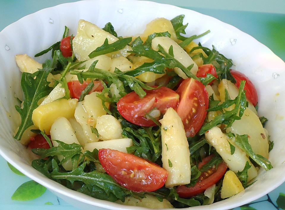 spargel kartoffel salat mit rucola und tomaten von polyrisos. Black Bedroom Furniture Sets. Home Design Ideas