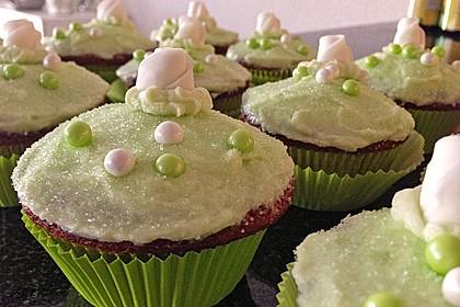 Zitronen - Cupcakes mit Waldmeister - Frischkäse - Creme 24