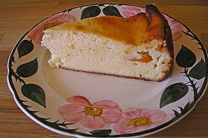 Aprikosenkuchen-Käsekuchen ohne Boden