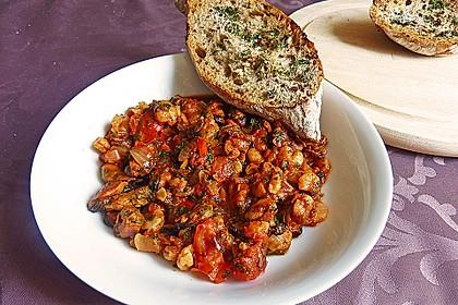Miesmuscheln in Tomate mit geröstetem Knoblauchciabatta 4