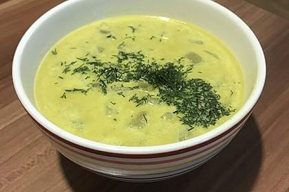Gurken-Rahm-Suppe mit Hackfleisch und Kartoffeln 1