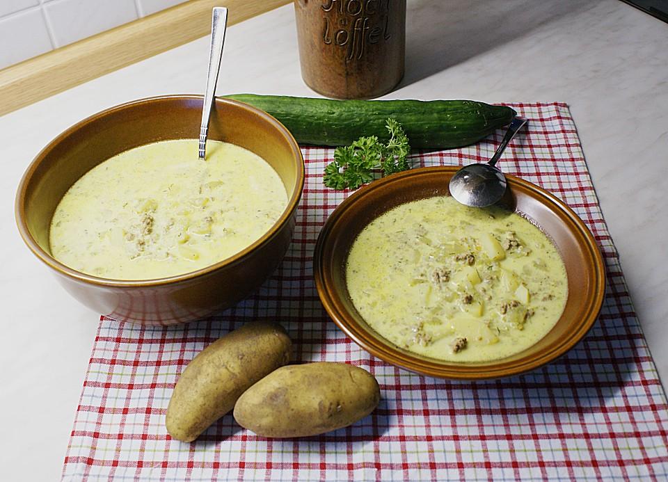 gurken rahm suppe mit hackfleisch und kartoffeln rezept mit bild. Black Bedroom Furniture Sets. Home Design Ideas