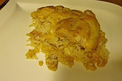 Fischfilet auf Reis