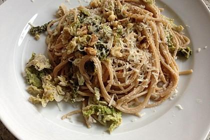 Wirsing - Spaghetti mit Walnuss - Sauce 3