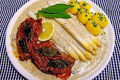 Spargel mit Gorgonzola - Mascarpone - Sauce und Saltimbocca 1