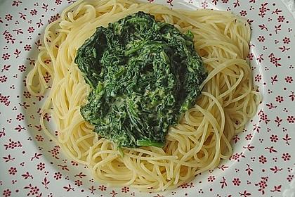 Spaghetti mit Kokosspinat 7