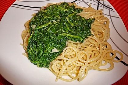 Spaghetti mit Kokosspinat 6