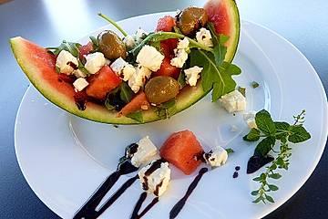 Melonen - Schafskäse  Salatschiffchen