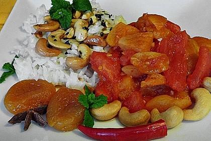 Aprikosen - Tomaten - Ragout mit scharfem Gewürzreis