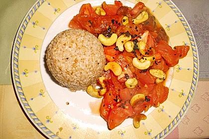 Aprikosen - Tomaten - Ragout mit scharfem Gewürzreis 4