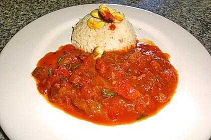 Aprikosen - Tomaten - Ragout mit scharfem Gewürzreis 6