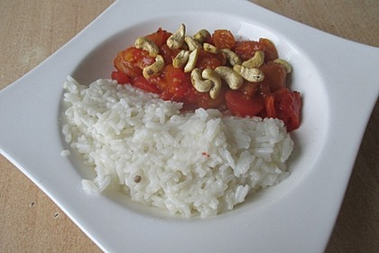 Aprikosen - Tomaten - Ragout mit scharfem Gewürzreis 5