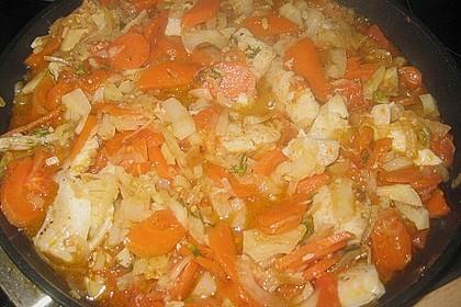 Fisch - Gemüse - Pfanne mit Fenchel