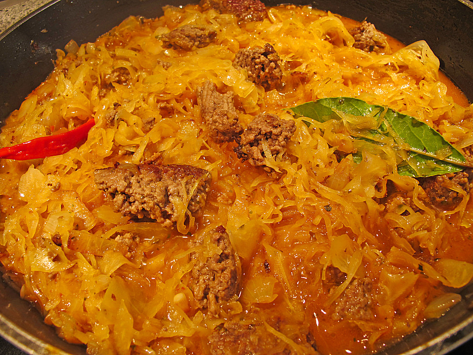 hackfleisch sauerkraut pfanne