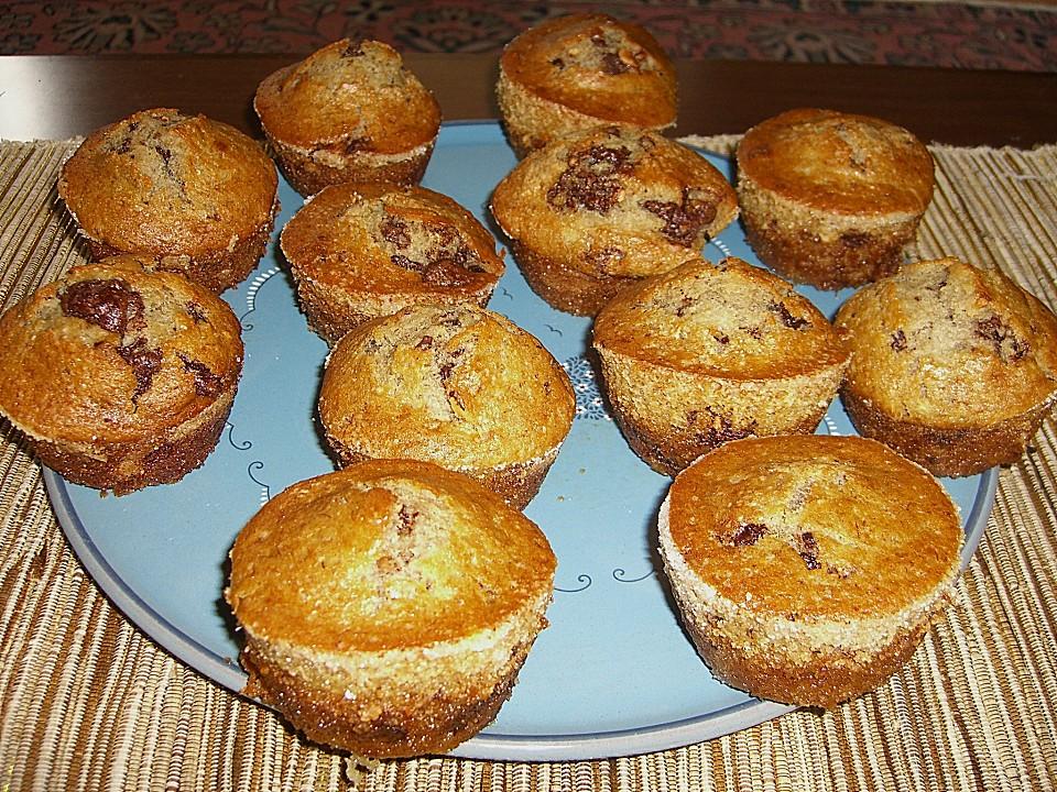 bananen muffins mit schokolade rezept mit bild. Black Bedroom Furniture Sets. Home Design Ideas