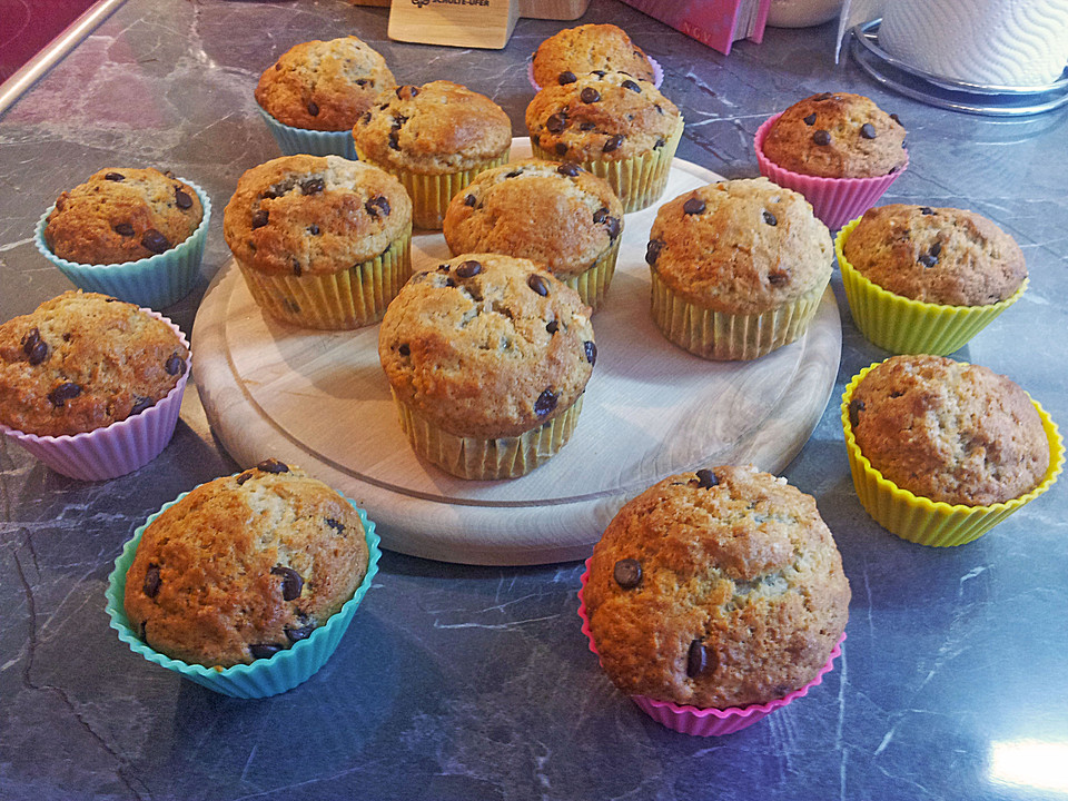 bananen muffins mit schokolade von pumpkin pie. Black Bedroom Furniture Sets. Home Design Ideas