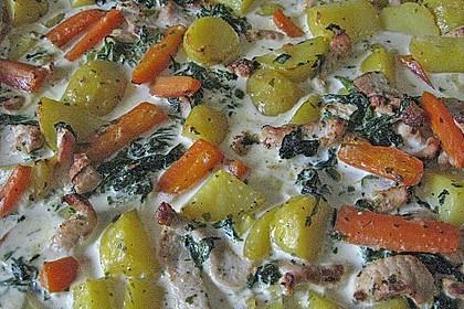 Kartoffel - Spinat - Gratin mit Hühnerbrust