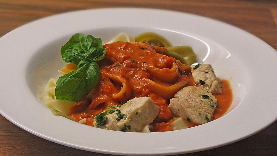 illes pochierte h hnchenbrust f r pasta mit tomatenso e rezept mit bild. Black Bedroom Furniture Sets. Home Design Ideas