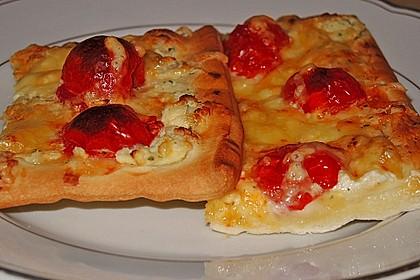 Frischkäse - Tomaten - Pizza