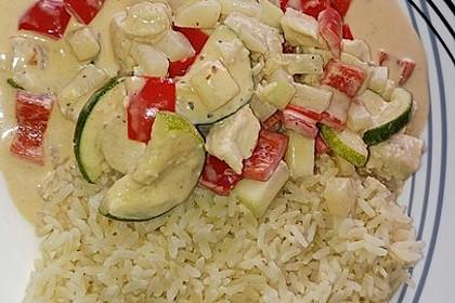 Hähnchen mit Zucchini und  Paprika in Erdnuss - Kokos - Sauce 8