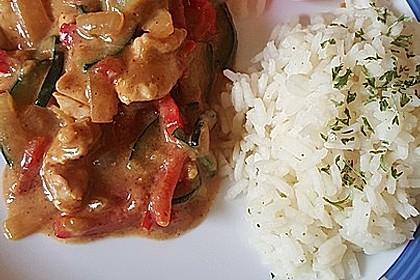 Hähnchen mit Zucchini und  Paprika in Erdnuss - Kokos - Sauce 9