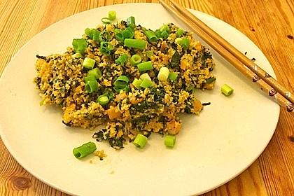 Couscous mit Zucchini, Kichererbsen und Blattspinat 8