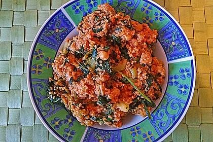 Couscous mit Zucchini, Kichererbsen und Blattspinat 12