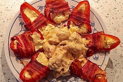 Frischkäse - Paprika - Schiffchen im Speckmantel 44