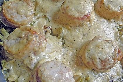 Schweinemedaillons mit Gorgonzola - Bohnen - Gratin 1