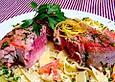 Tagliatelle mit Thunfischsteak und Paprika