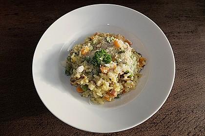 Risotto mit Pilzen, Schinkenspeck und Safran