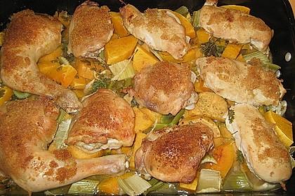 Brathähnchen mit Süßkartoffeln und Butternut Kürbis 4