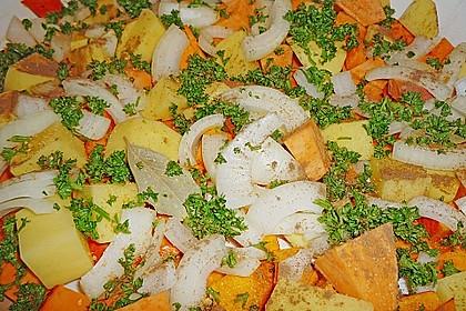 Brathähnchen mit Süßkartoffeln und Butternut Kürbis 10