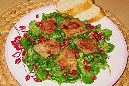 Granatapfel und Feldsalat mit Geflügelleber 1