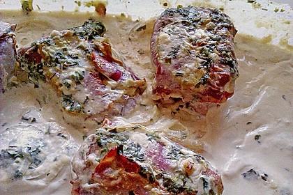 Schweinefilet in Bacon mit Frischkäsesoße überbacken 7