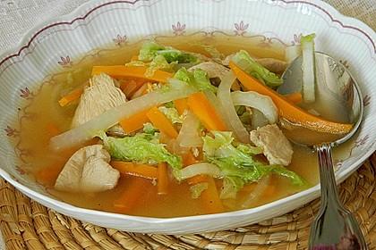 Gemüsesuppe mit zartem Hühnerfleisch 1