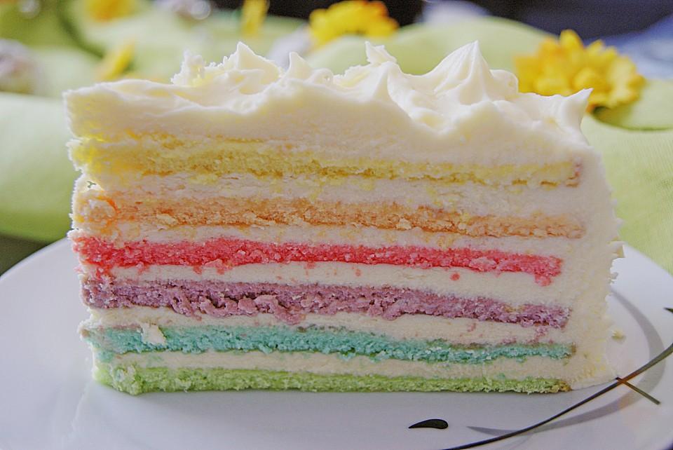 Regenbogen kuchen pudding