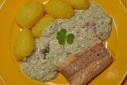 Lachsforelle mit Frankfurter Grüne Sauce und kleinen Schwenkkartoffeln 1