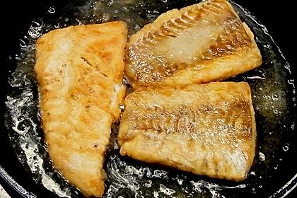 Kartoffel-Rosenkohl Püree mit Backfisch 1