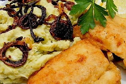 Kartoffel-Rosenkohl Püree mit Backfisch 2