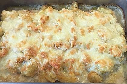 Putenschnitzel in Käse - Lauch - Sauce mit Rösti überbacken 8